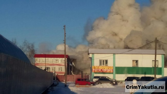 Крупный пожар в Ленске