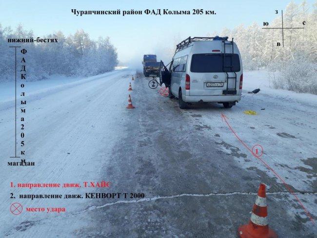 Микроавтобус врезался в тягач на дороге в Якутии
